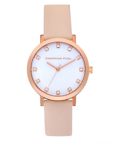 Christian Paul Unisex Luxe Collection Rose-Goldtone Leather Strap Watch-WHITE-One Size