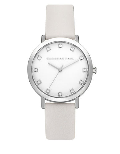 Christian Paul Unisex Luxe Collection Silvertone Leather Strap Watch-PEACH-One Size