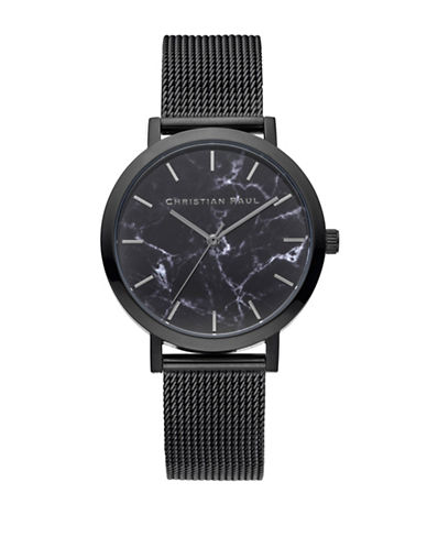 Christian Paul Marble Mesh Stainless Steel Watch-BLACK-One Size