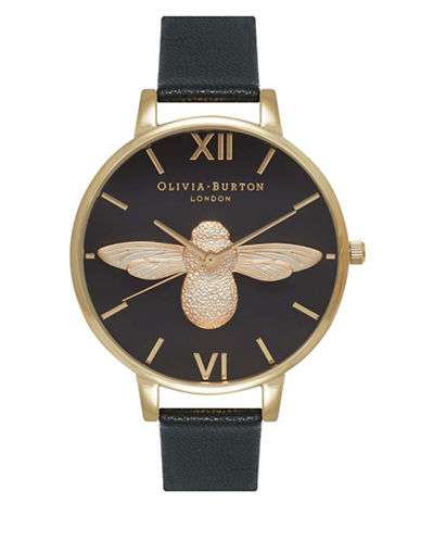 Olivia Burton OB15AM64 Analog Moulded Bee Leather Strap Watch-BLACK-One Size
