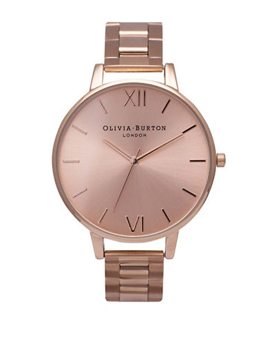 Olivia Burton Analog Big Dial Sable IP Bracelet Watch-PINK-One Size