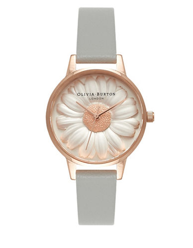 Olivia Burton OB15EG50 Analog Moulded Daisy Leather Strap Watch-GREY-One Size