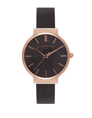 Olivia Burton Analog Hackney Two-Tone Mesh Bracelet Watch-BLACK-One Size