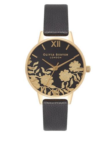 Olivia Burton Black Lace-Detail Leather Strap Watch-BLACK-One Size