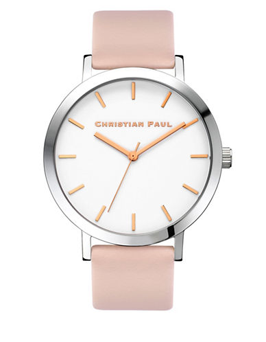Christian Paul Analog Raw Collection Silvertone Leather Strap Watch-SILVER-One Size