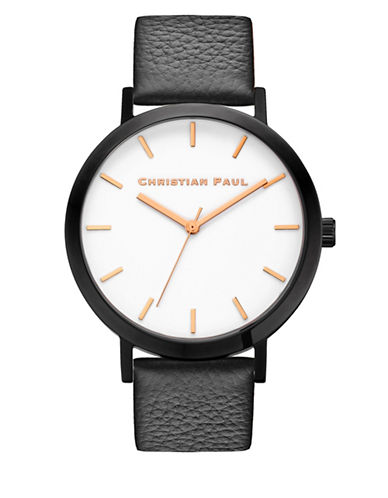 Christian Paul Analog Raw Collection Black Leather Strap Watch-BLACK-One Size