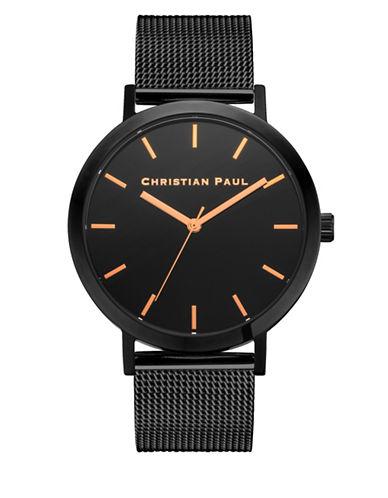 Christian Paul Analog Raw Collection Black IP Bracelet Watch-BLACK-One Size