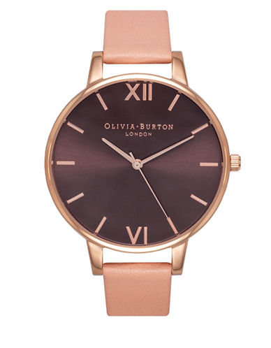 Olivia Burton Analog Big Dial Rose-Goldtone Leather Strap Watch-ROSE GOLD-One Size