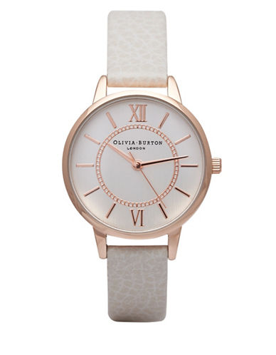 Olivia Burton Analog Wonderland Rose-Goldtone Leather Strap Watch-PINK-One Size