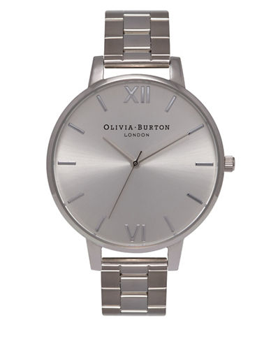 Olivia Burton Analog Big Dial Stainless Steel Bracelet Watch-SILVER-One Size