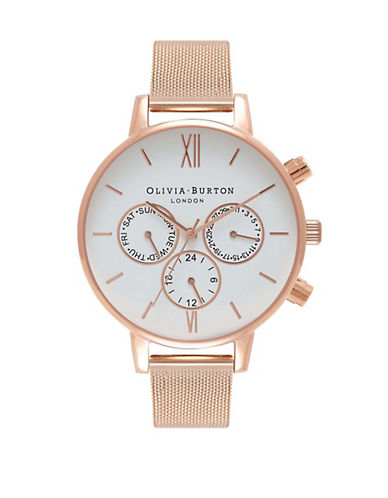 Olivia Burton Chronograph Check Rose-Goldtone Bracelet Strap Watch-PINK-One Size