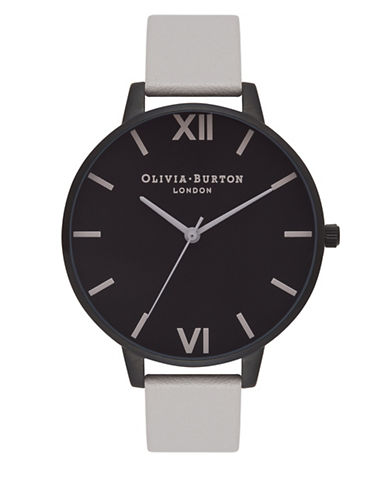 Olivia Burton Analog After Dark Black IP Leather Strap Watch-BLACK-One Size