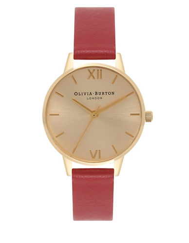 Olivia Burton Analog Midi Dial Goldtone Leather Strap Watch-GOLD-One Size