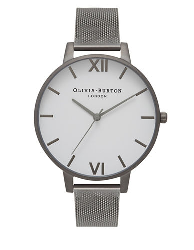 Olivia Burton Analog Gunmetal-Tone Mesh Bracelet Watch-GREY-One Size