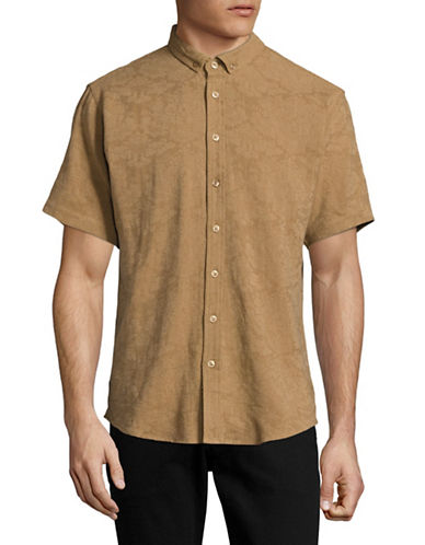 Publish Brand Jacquard Floral Short-Sleeve T-Shirt-TAN-Small