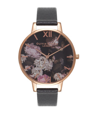 Olivia Burton Winter Garden Hydrangea Goldtone Leather Strap Watch-BLACK-One Size