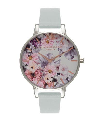 Olivia Burton Enchanted Garden Silvertone Faux Leather Strap Watch-GREY-One Size