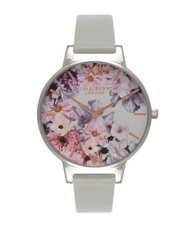 Olivia Burton Enchanted Garden Silvertone Leather Strap Watch-GREY-One Size