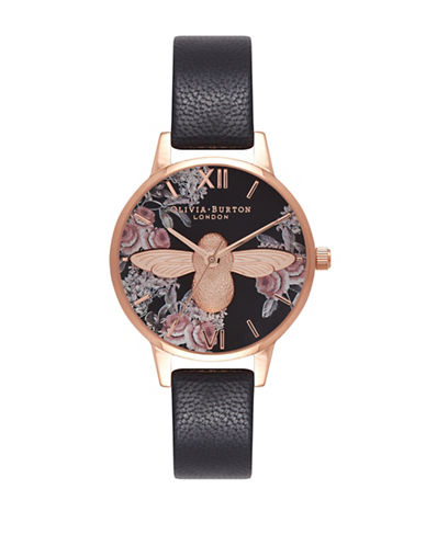 Olivia Burton Midi Floral Moulded Bee Goldtone Leather Strap Watch-BLACK-One Size