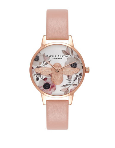 Olivia Burton Midi Floral Moulded Bee Goldtone Leather Strap Watch-PINK-One Size
