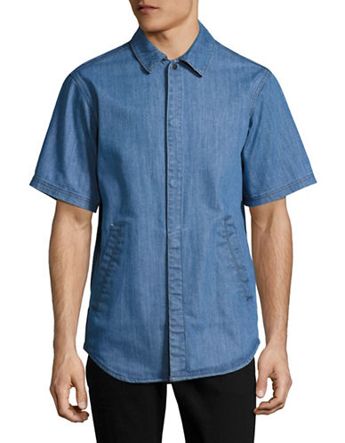 Publish Brand Stretch Denim Shirt-BLUE-Medium
