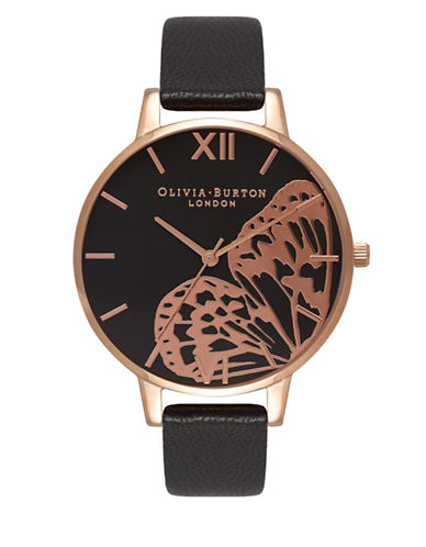Olivia Burton Analog Big Dial Rose-Goldtone Leather Strap Watch-BLACK-One Size