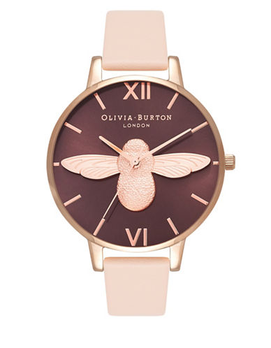 Olivia Burton Analog Bee Goldtone Leather Strap Watch-BEIGE-One Size