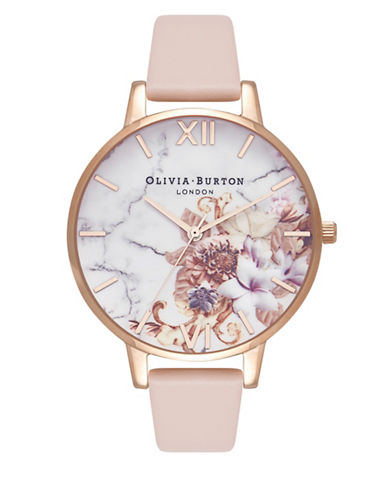 Olivia Burton Marble Floral Leather Analog Watch-ROSE GOLD-One Size
