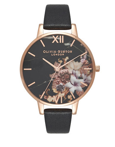 Olivia Burton Marble Floral Analog Watch-ROSE GOLD-One Size