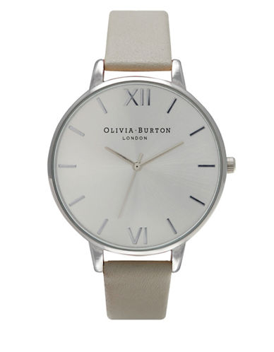 Olivia Burton Analog Big Dial Stainless Steel Leather Strap Watch-GREY-One Size
