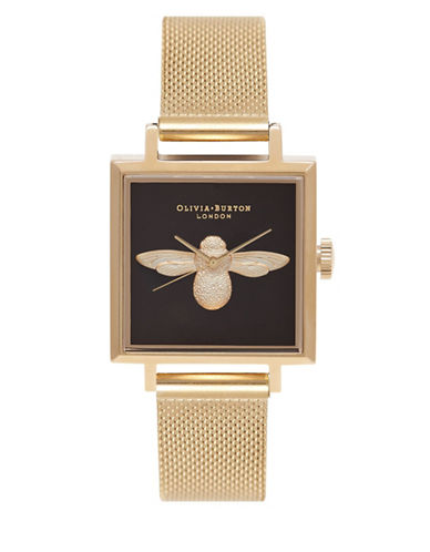 Olivia Burton Analog Bee Goldtone Mesh Bracelet Watch-BLACK-One Size