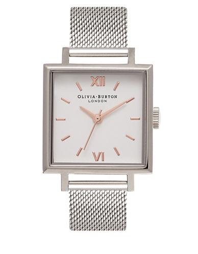Olivia Burton Analog Square Dial Stainless Steel Mesh Bracelet Watch-GREY-One Size