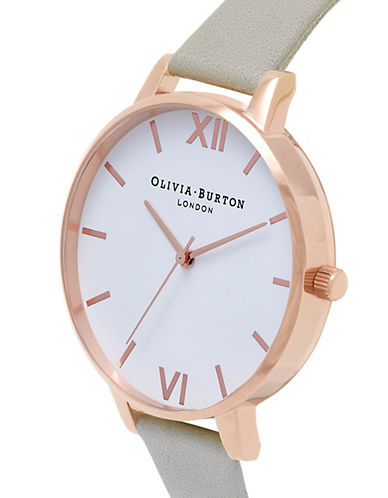 Olivia Burton Analog Large Dial Goldtone Leather Strap Watch-GREY-One Size