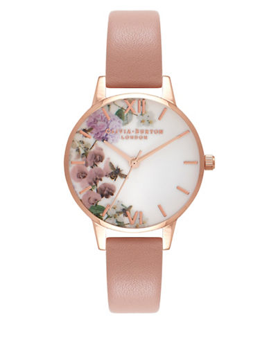 Olivia Burton Enchanted Garden Pink Leather Watch-ROSE GOLD-One Size