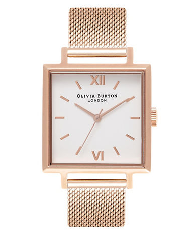 Olivia Burton Rose Goldtone Square Case Watch-ROSE GOLD-One Size