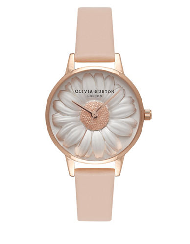 Olivia Burton 3D Daisy Pink Leather Watch-ROSE GOLD-One Size