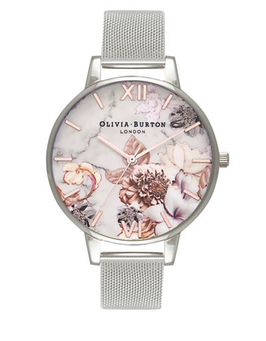 Olivia Burton Marble Floral Rose Analog Watch-ROSE GOLD-One Size