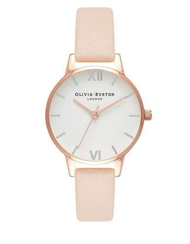 Olivia Burton Midi Dial Nude Leather Strap Watch-ROSE GOLD-One Size
