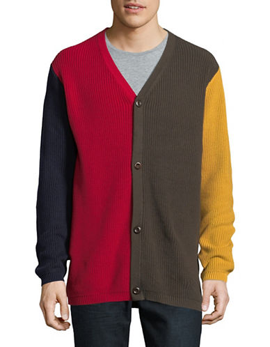 Publish Brand Colourblocked V-Neck Cardigan-MULTI-COLOURED-Small
