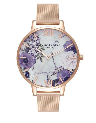 Olivia Burton Marble Floral Bracelet Watch-ROSE GOLD-One Size