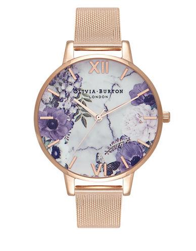 Olivia Burton Marble Floral Bracelet Watch-ROSE GOLD-One Size