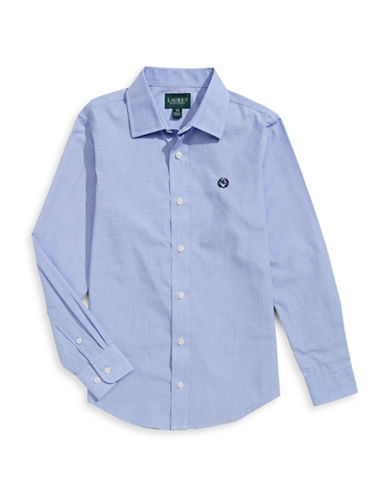 Lauren Ralph Lauren Cotton-Blend Sport Shirt-BLUE-8
