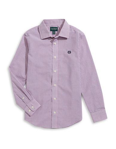 Lauren Ralph Lauren Tattersall Plaid Sport Shirt-PINK-8