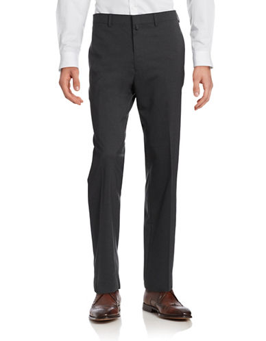 Lauren Ralph Lauren Solid Wool Pants-CHARCOAL-40X30