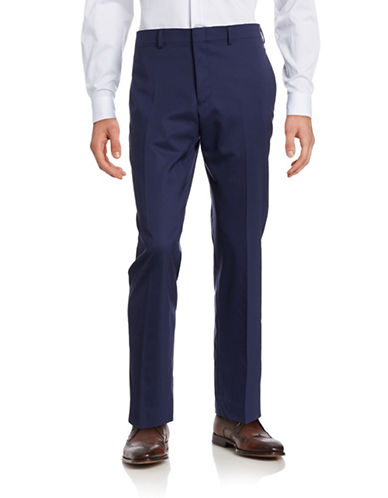 Lauren Ralph Lauren Slim-Fit Wool Dress Pants-NAVY-42X30