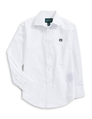 Lauren Ralph Lauren Button Shirt with Signature Laurel Wreath-WHITE-4