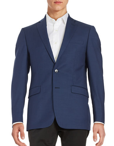 Calvin Klein Two-Button Wool Jacket-BLUE-38 Short