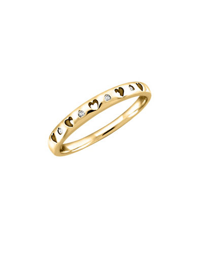 Fine Jewellery 14K Yellow Gold Heart Cut-Out 0.02 TCW Diamond Ring-GOLD-7