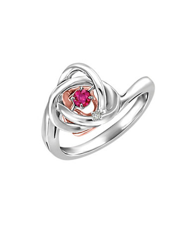 Fine Jewellery Two-Tone Rhythm of Love Ruby 0.006 TCW Diamond Ring-RED-7