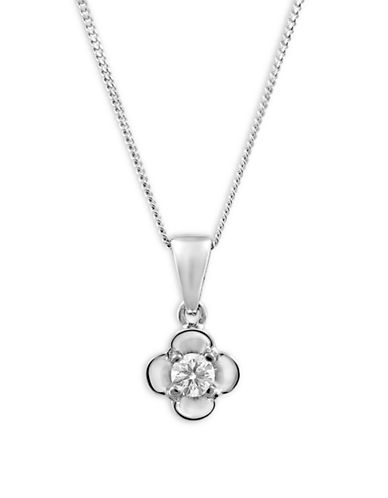Fine Jewellery 14KT White Gold and 0.10TCW Canadian Diamond Flower Necklace-SILVER-One Size